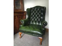 Stunning green leather Chesterfield full button Queen Anne Chair