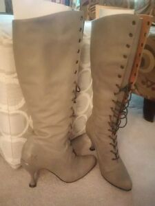 "3"" light grey ladies' Fluevog boots Second Miracles Tall Lace Up"