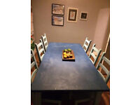 Shabby chic 6 chair table big dining table Vintage colours blue & duck egg