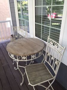 Wrought Iron & Barn Wood Table and Chairs