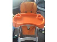Height adjustable high chair