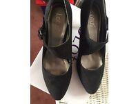 Lotus ladies shoes black suede effect