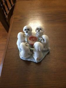 Circle of Bichons Candle Holder with Candle