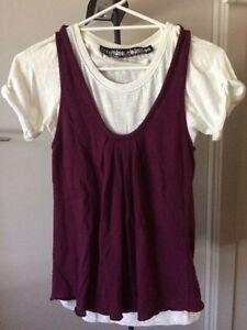 Zara Masque Basics Double Layered Purple Singlet White Top/Shirt Southbank Melbourne City Preview