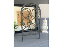 Metal iron distressed reclaimed vintage wine rack holder 6 bottles