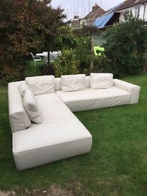 Leather left corner sofa (fishpools)