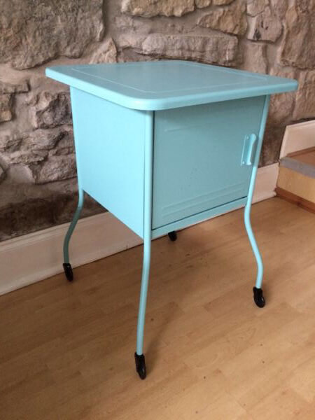 Ikea Vettre Bedside Table Metal With Castors Turquoise