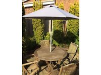 Good quality wooden garden furniture, umbrella and stand