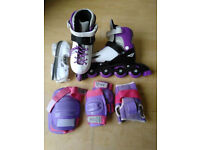 Children's Roller blades Size 11-13.5 with ice skating blades and protective pads