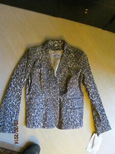 Leather jacket animal print GUILLAME DESIGNER SIZE 8  ,  NEW