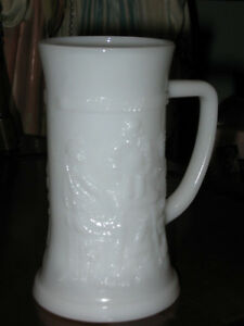 ...Tall ATTRACTIVE EMBOSSED MILK GLASS MUG..[HANDLED]...