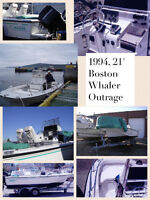 21' Boston Whaler Outrage w 225hp Black Max Mercury Outboard
