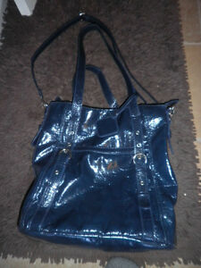 grand sac à main cuir  bleu/ hand bag leather blue