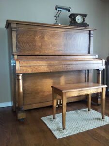 "Cable Company ""Kingsbury"" upright oak piano for sale"