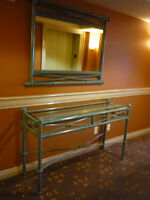 METAL / GLASS  HALL TABLE WITH MIRROR
