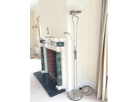 Silver Metal Floor Standing Lamp & Glass Shade - Approx 6ft Tall