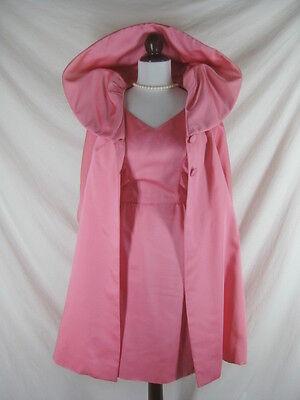 50s 60s Sandra Sage Designer Jenss Womens Vintage Pink Cocktail Party Dress Swin