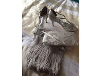 Silver shoes(size 5) and accessories