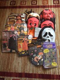 Job lot of Halloween costumes , masks & decorations
