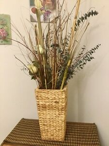 Accent wicker basket with foliage
