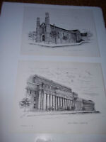 (2) 1975 Prints of Toronto Landmarks by Cy Wallace