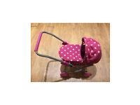 Girls Toy Pram Stroller Pink polka dot baby dolls