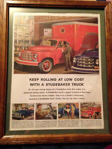 Studebaker Truck Ad Framed with Mat, ready to hang, 1952