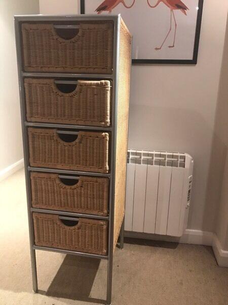 5 drawer wicker basket storage cupboard/cabinet