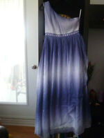 EVER-PRETTY GRECIAN STYLE ONE SHOULDER BLUE DRESS, SZ.M, NEW