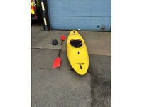 Necky Jive kayak, spray deck, helmet and buoyancy aid.