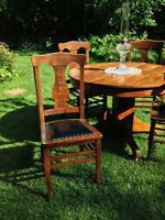 Antique Solid Oak & Leather Dining Chairs