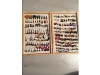 Dry flys in wooden box , fly fishing *price reduced*