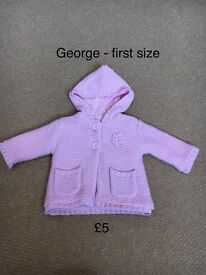 2x girls chunky knit cardigans/jacket newborn & 0-3
