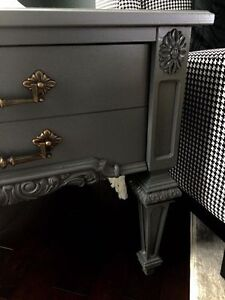 Dark Grey End Table with Carved Details