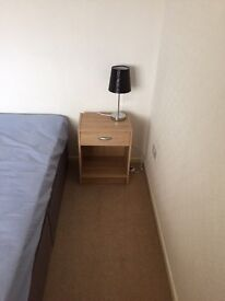 Double bed and bedside unit with lamp almost new
