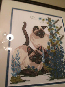 "14"" X 15"" PROFESSIONALLY FRAMED CROSS-STITCH OF SIAMESE CATS London Ontario image 2"