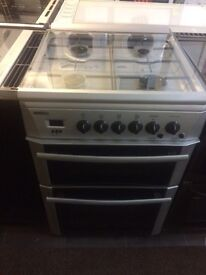 Silver BEKO 60cm gas cooker grill & double oven good condition with guarantee
