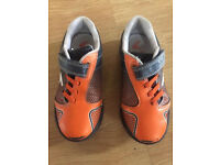 Clarks 9F Blue, Black & Orange Leather Trainers