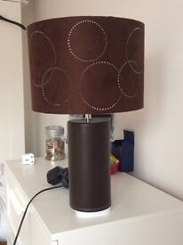 Brown leather lamp with suede shade - FREE!