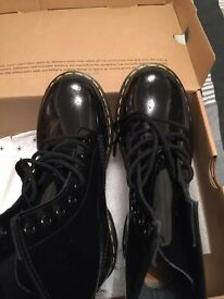 Dr Martens black patent boots - brand new