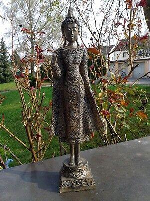 ♡ XL Thai Buddha Tempelwächter stehend braun ca. 45 cm Feng Shui Statue Skulptur