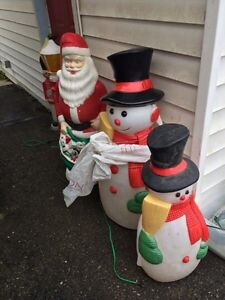 Santa and snowman that light up