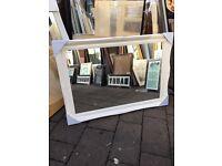"""large white swept framed mirror 42""""x30"""""""