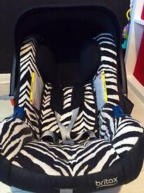 Britax zebra BABY-SAFE PLUS SHR II car seat from birth can post