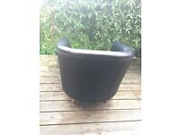 IKEA Black Leather Tub Style Chair
