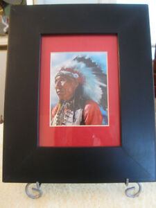 BEAUTIFUL OLD VINTAGE FRAMED & MATTED NATIVE INDIAN CHIEF PRINT