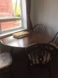 Wooden dining table (folding) +4 chairs
