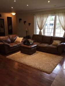 Full grain leather set with ottoman