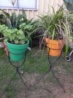 2 Coloured Terracotta Planted Pots In Metal Stands Beckenham Gosnells Area Preview