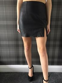 Real black leather vintage skirt £12 28 inches